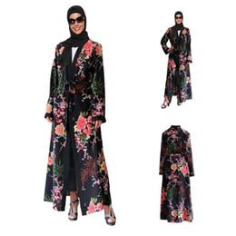 $enCountryForm.capitalKeyWord Australia - Fashion Women Muslim Abaya Dress Flare Sleeve Cardigan Printed Floral Islamic Dress caftan marocain Qatar uae baju muslim wanita