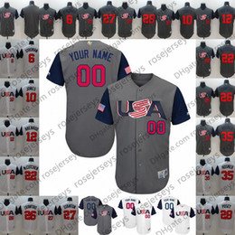 China Custom USA WBC Gray White Jersey 2017 World Baseball Classic #7 Christian Yelich 10 Adam Jones Any Name Number men women youth kid supplier jones custom suppliers