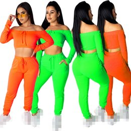 $enCountryForm.capitalKeyWord Australia - Summer Autumn Cotton Women Two Pieces Pants Sets for Sports Green Orange Leisure Solid Long Sleeves T Shirt +Pants with Pocket Tracksuits