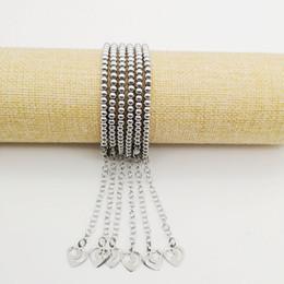 Lobster Extension Chain Australia - 4mm Stainless steel beads bracelet women fashion Silver color heart charm 18cm Strand bracelet with extension chain BLKN0786