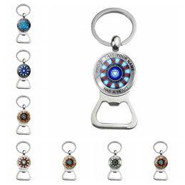 $enCountryForm.capitalKeyWord NZ - The Avengers Iron man heart key chain bottle opener Keychain Holder Acrylic Bell Anime Key Chain Bag Pendant Bts Accessories Gift