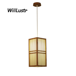 China Japan Style Bamboo Pendant Lamp Handmade Wood Lantern Restaurant Bar Cafe Bistro Hotel Teahouse Bedroom Suspension Hanging Light supplier cafe style pendants suppliers