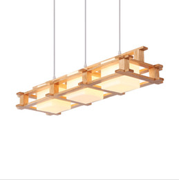 $enCountryForm.capitalKeyWord Australia - Delin Wooden LED Pendant Lights For Dining Room two Wooden Round Lustre Wood Kitchen Luminaire Dinning Table Hanging Lamp