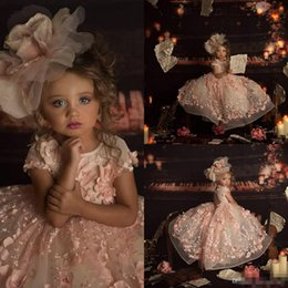 Ruffled floweRs online shopping - 2019 Pink Ball Gown Flower Girls Dresses for Wedding Jewel Neck D Floral Bead Kids Pageant Dress Princess Toddler Communion Gowns