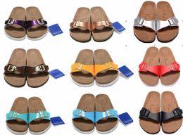 Black leather clogs online shopping - new Madrid Black Flor street summer Women Leather flats sandals Cork slippers unisex Sandy Clogs shoes Grape purple size