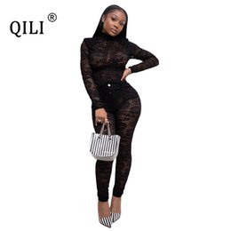 Wholesale night club jumpsuits for women resale online – QILI See Through Lace Jumpsuits for Women Rompers Long Sleeve Top and Pants Piece Set Outfits Womens Night Club Jumpsuit