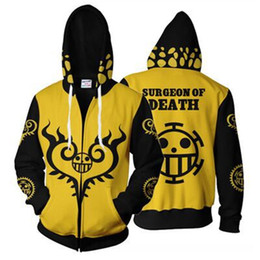 herren outfits großhandel-Mens Hoodies Anime One Piece D Hoodie Sweatshirts Trafalgar Law Cosplay Of Heart Reißverschluss Hoodies Tops Oberbekleidung Mantel Ausstattungs XL