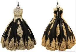 $enCountryForm.capitalKeyWord UK - Vintage Black And Gold Girls Pageant Dresses Ball Gown High Neck Keyhole Back Lace Applique Crystal Corset Back Children Birthday Kids