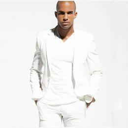One Piece Pants Suits NZ - Casual Men White Suits for Wedding Groom Tuxedo Male Blazer Two Piece(jacket+Pants)Costume Homme Slim Fit Terno Masculino trajes de hombre