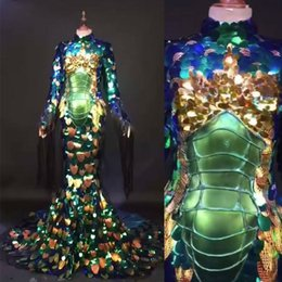 $enCountryForm.capitalKeyWord UK - 2019 Fashion Luxury Glisten Fish scale sequins Stage Wear Long Trailing Dresses Full sequins Costume Celebrate Outfit Dresses