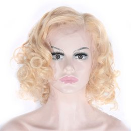 blonde mongolian curly hair 2019 - Malaysian Curly Lace Front Wigs Blonde Human Hair Wigs Pre Plucked Hairline 613 Wigs 8-28 inch Ping cheap blonde mongoli