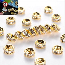 gold rhinestone bead spacers NZ - Wholesale Pirce Silver Gold Crystal Rhinestone Rondelle Spacer Beads DIY Jewelry Making Accessories 6mm 8mm 10mm Wholesale Price