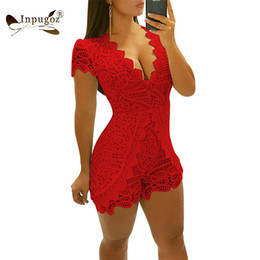$enCountryForm.capitalKeyWord Australia - Summer Lace Sexy Bodycon Playsuits Deep V Short Sleeve Women Elegant Romper Lovely Party Club Short Jumpsuits Bodysuits Y19071801