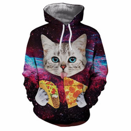 pizza hoodie 2021 - 2019 New Men Women Hooded Hoodies Print Pizza Cat Space Galaxy 3d Sweatshirts With Hat Autumn Winter Thin Hoody Tops dro