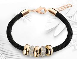 $enCountryForm.capitalKeyWord Australia - 10Pcs Fashion Simple Slide Beads Design Rhinestones Gold Rope Chain Charm Bracelets Jewelry For Women Lady Beaded Bracelets