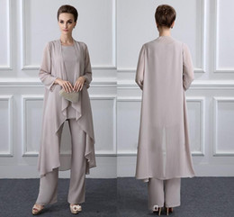 $enCountryForm.capitalKeyWord NZ - Elegant Grey Mother Of The Bride Pant Suits With Jacket Chiffon Beach Wedding Guest Groom Dresses Cheap Mothers Outfit Long Garment