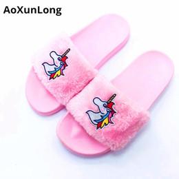 d345dd0c3 Unicorn Slippers New Fashion Plush Home Slippers Flat Shoes Woman Slide  Slippers Women Cartoon Unicorn Big Size 36 41 Flip