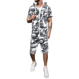 $enCountryForm.capitalKeyWord UK - Oeak Mens Fashion Camouflage Jumpsuits 2019 New Short Sleeve Hoodies Romper Sweatshirt Zipper Tracksuit Overalls Sportswear