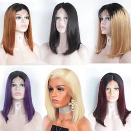 1b 27 bob wig online shopping - BoB Lace Wigs For Women Pre Plucked Straight Bob Wigs Human Hair Ombre Lace Front Wigs B B B J B Purple