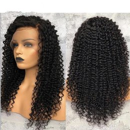 $enCountryForm.capitalKeyWord Australia - Top Selling Black Afro Kinky Curly Wigs Brazilian Virgin curly hair Full Density Lace Front Wigs for Women Free Shipping
