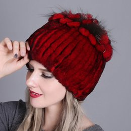 Black ladies sun hat online shopping - 2019 Luxury Beanie Rex Rabbit Fur Knitted Women s Real Fur Hats Warm Padded Autumn And Winter Warm Ladies Colorful Knit Hats