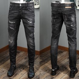 Wholesale Cool Man Destroyed Black Jeans Skater Fit Fading Effect Button Close Damage Wash Denim Trousers For Mens