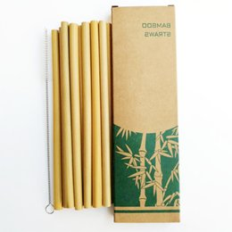Business Card Holder Magnetic Australia - 10PCS Creative color bamboo Straws and Clean Brush Natural yellow 5 10 pcs anti - magnetic Badge Holder New Business Cards