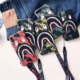 shark phone NZ - Fashion Shark Case with Lanyard For iPhone 6 7 8 Plus Shark Army Phone Case Cover For iPhone X Xr XS Max