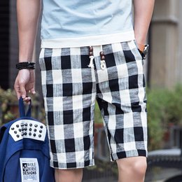 $enCountryForm.capitalKeyWord Australia - Bermuda Shorts Male Hot 2019 Summer Elastic Waist Mens Plaid Shorts Classic Design Cotton Linen Casual Beach Short Pants S-4XL
