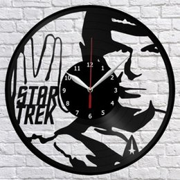 Опт Star Trek Виниловые пластинки Настенные часы Декор Фан-арт Home Decor Hand Art Art Индивидуальность Подарок (размер: 12 дюймов, цвет: черный)