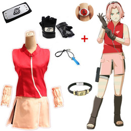 Wholesale naruto sakura cosplay costume resale online - Asian Size Japan Anime Naruto Sakura Haruno Cosplay Girl Party Costume Halloween Uniform Shirt Skirt Full Set