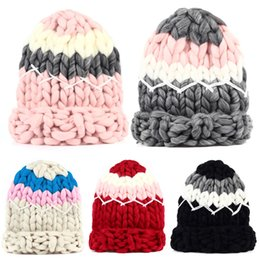 8435e9632 Winter Women Girls Warm Wool Hat Handmade Knitted Coarse Lines Cable Hats  Knit Cap Candy Color Female Beanie Crochet Caps