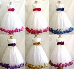 Tea Shirts For Girls Australia - New Tulle Custom Made Cute Little Flower Girl Dress Tea Length Hand Made Flowers Bows Kids Prom Birthday Dress For Dance