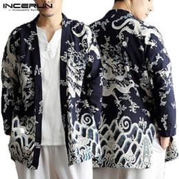Blue Cotton Cloak Australia - Retro Floral Ethnic Mens Cloak Trench Long Sleeve Tops Punk Cardigan Coats Fashion Casual Coats 5XL Outwear Hombre Mantle Autumn