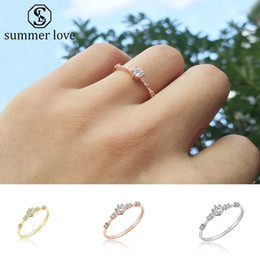 ea447e66e High Quality Crystal Zircon Rings for Women Korea Style Six Prong Setting  Silver Gold Rose Gold Color Wedding Rings Fashion Jewelry Gift