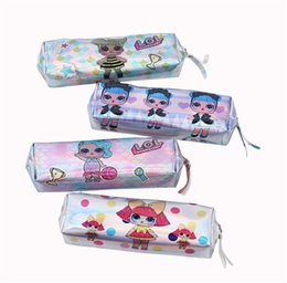 Stationery Australia - Laser Surprise Girl Designer Credit Card Holder Coin Purse Pencil Bags Luxury Wallet Boy Brand Pencil Case Cartoon Mermaid Stationery A52204