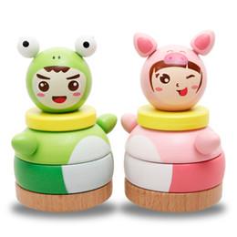 Kids Block Games Australia - Wooden Cartoon Tumbler Doll Toy Educational Block Children Kids Stacking Game Rattles Toys Hand-Eye Coordina Gifts