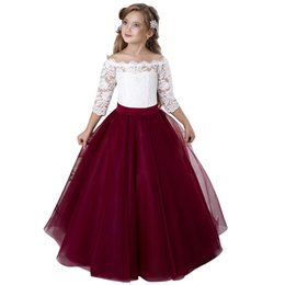 $enCountryForm.capitalKeyWord UK - White and red Puffy Flower Girl Dresses First Communion Dresses for Girls Beaded Applique Kids Evening Gowns Hot Sale vestido longo 2019