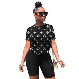 Wholesale t shirt dress online – design Plus size X Summer Women brand short sleeve T shirt shorts sports two piece set casual letter outfits designer black sportswear