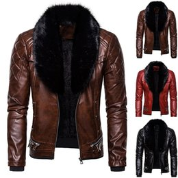 gothic collars Australia - Nice Products Men's Leather Vintage Steam Pocket Zipper Fur Collar Punk Gothic Retro Coat Fashion Fashion Woman