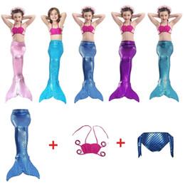 Discount animal tails clothing - Mermaid Swimsuits For Kids Kids Mermaid Costume Cosplay Girls Bikini Tail Swimsuit Tail Clothing Swimwear Set