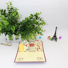 3D Pop Up Felicitous Wish Of Making Money Greeting Card Maneki Neko Lucky Cat For Business