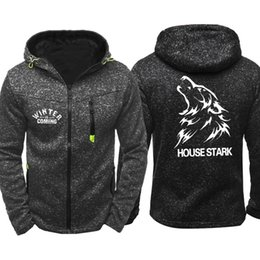 Power Housing Australia - House Stark Sweatshirt Men Sport Wear Men's Hooded Tide Jacquard Hoodies Zipper Hoodie Male Hoody Autumn Spring Hoodies Cardigan Sweater
