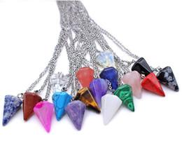 hexagonal pendant quartz 2019 - New Hexagonal Natural Stone Quartz Tapered Section Pendulum Crystal Pendant Chain Necklace for Women Statement cheap hex