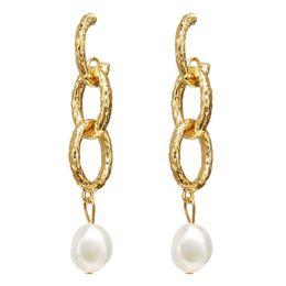 $enCountryForm.capitalKeyWord Australia - 2019 New Arrival ZA Designer Earrings Fashion Natural Freshwater Pearl Drop Earrings Vintage Gold Metal Circle Dangle Earings Jewelry