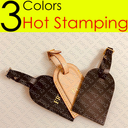 HOT STAMP STAMPING Designer CARRYALL Leather ID Holder Removable Name Tag Nametag Label Bag Charm Key Bell Padlock Travel Duffle Luggage Bag on Sale