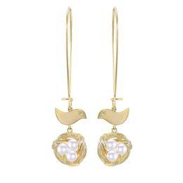 Copper Earrings Hooks UK - 2019 New Fashion Top Quality Designer 925 Silver Needle Bird Nest Shell Pearl Dangle Hook Earrings Long Animal Wedding Earrings for Women
