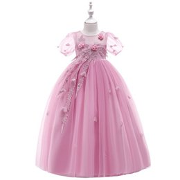 $enCountryForm.capitalKeyWord Australia - New flower Girls petal mesh princess dresses girls Birthday puff sleeve children garments baby girls boutique clothing performance clothies