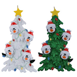 Decor Ornament Australia - Resin Penguin Family Of 4 Christmas Ornaments With White Tree As Personalized Gifts Holiday Home Decor