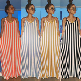 $enCountryForm.capitalKeyWord Australia - women casual dresses summer sleeveless stripes print spaghetti strap loose maxi dress beach wear fashion long vestidos dresses 2019 New